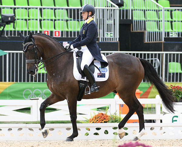 Sue Hearn and Remmington in the Olympic debut for the pair in the Grand Prix. © 2016 Ken Braddick/dressage-news.com