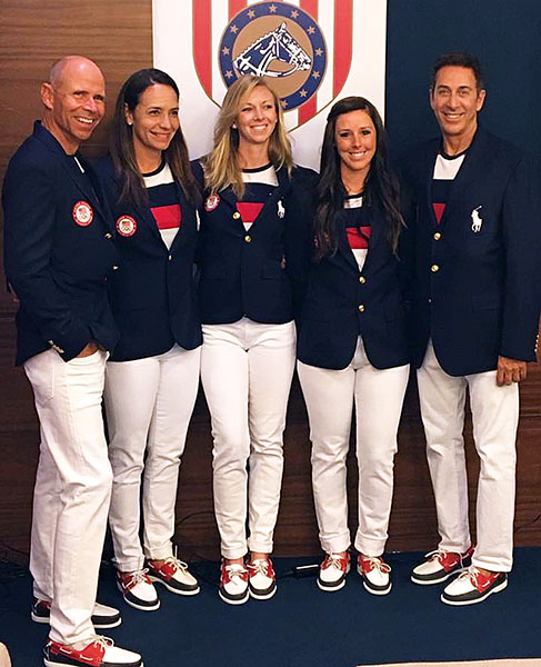 The USA dressage team (left to right) of Steffen Peters, Allison Brock, Laura Graves, Kasey Perry-Glass with coach Robert Dover in their Ralph Lauren team uniforms.