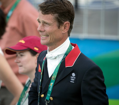 William Fox-Pitt after taking lead after first of two days of eventing dressage. © 2016 FEI/Dirk Caremans