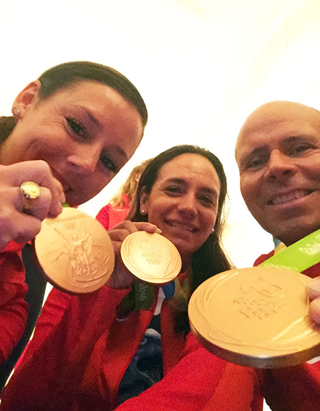 Kasey Perry-Glass, Allison Brock and Steffen Peters displaying their 2016 Olympic medals at the White House that celebrated America's medal-winning athletes. Photo courtesy Steffen Peters