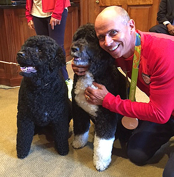 Steffen Peters with President Obama's Portuguese water dogs Sunny and Bo at the White House celebrating American 2016 Olympic medal winners. Photo courtesy Steffen Peters