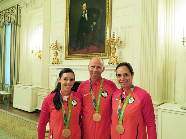 American Olympic dressage team riders Kasey Perry-Glass, Steffen Peters and Allison Brock at the White House which celebrated USA medal winners. Laura Graves did not attend. Photo Courtesy Steffen Peters