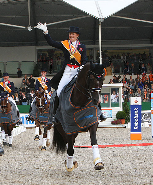 The first international championship for Valegro, then nine years old, and Charlotte Dujardin was the European Championships in Rotterdam, Netherlands. Great Britain won team gold with Carl Hester on Uthopia placing first individuall, Adelinde Cornelissen on Jerich Parzival second, Matthias Alexander Rath on Totilas third and Charlotte and Valegro placed 4th in the Grand Prix. Charlotte and Valegro , 6th in the Special and 9th in the Freestyle. © 2011 Ken Braddick/dressage-news.com
