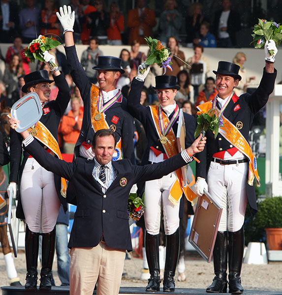 Richard Waygood with the British gold medal team at the 2011 European Championships. © Ken Braddick/dressage-news.com