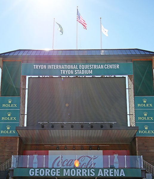 The Rolex-bedecked tower overlooking the main arena at the Tryon International Equestrian Center that will be the centerpiece competition ring at the 2018 World Equestrian Games. © 2016 Ken Braddick/dressage-news.com