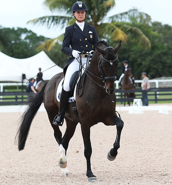Adrienne Lyle riding Salvino at Int. II in a national show in Wellington, Florida ahead of the Global Dressage Festival. © 2016 Ken Braddick/dressage-news.com