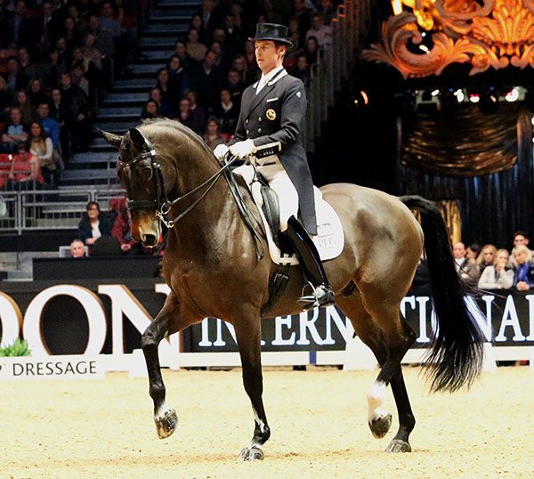 Carl Hester and Nip Tuck repeating victors in the London Olympia World Cup Grand Prix Freestyle. © 2016 Ken Braddick/dressage-news.com
