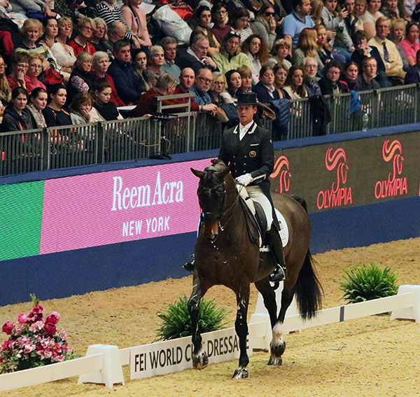Carl Hester and Nip Tick riding to victory in the London World Cup Grand Prix. © 2016 Ken Braddick/dressage-news.com