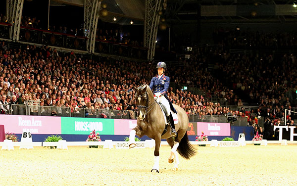 Charlotte Dujardin riding Valegro in a performance of their London 2012 Olympic freestyle for the first time since winning individual gold. © 2016 Ken Braddick/dressage--news.com
