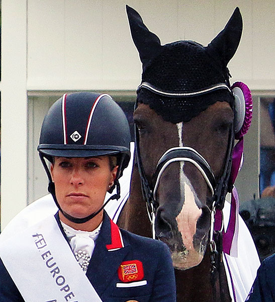 Valegro knows he belongs center stage with Charlotte Dujardin at the European Championships in Aachen, Germany in 2015. © 2015 Ken Braddick/dressage-news.com