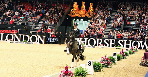 Valegro being ridden by Charlotte Dujardin in a demonstration orchestrated by Carl Hester at Olympia in London. © 2016 Ken Braddick/dressage-news.com