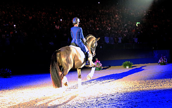 Valegro ridden by Charlotte Dujardin on the final centerline leaving the arena at London Olympia. © 2016 Ken Braddick/dressage-news.com