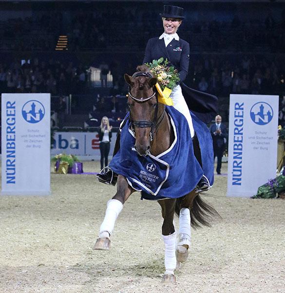 Isabel Freese and Vitalis, winner of the Nürnberger Burg-Pokal Prix St. Georges Special, a major developing sport horse program for seven to nine-year old horses. © 2016 Ken Braddick/dressage-news.com