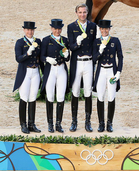 The German Olympic gold medal team of Isabell Werth, Dorothee Schneider, Sönke Rothenberger and Kristina-Broring Sprehe. © 2016 Ken Braddick/dressage-news.com