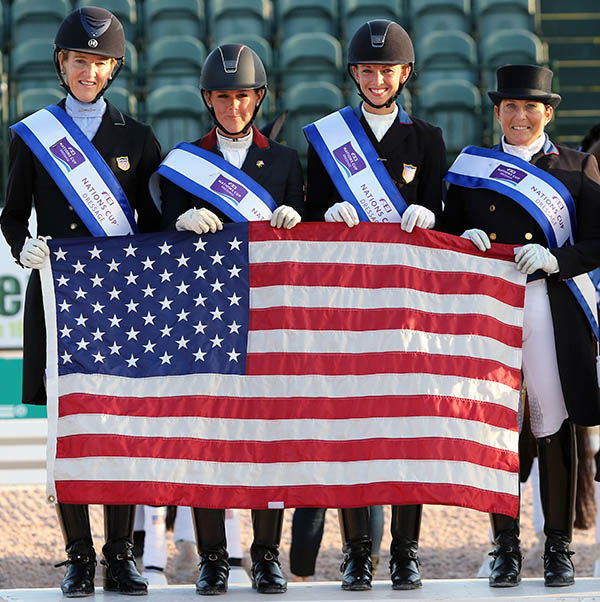 The USA gold medal team at the Adequan Global Dressage Festival, the start of the first official year of the trans-Atlantic series that was won by the United States. © 2016 Ken Braddick/dressage-news.com