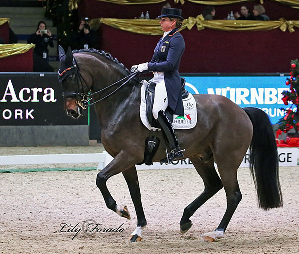 Dorothee Schneider and Showtime FRH at the Salzburg World Cup competition. © 2016 Lily Forado for dressage-news.com