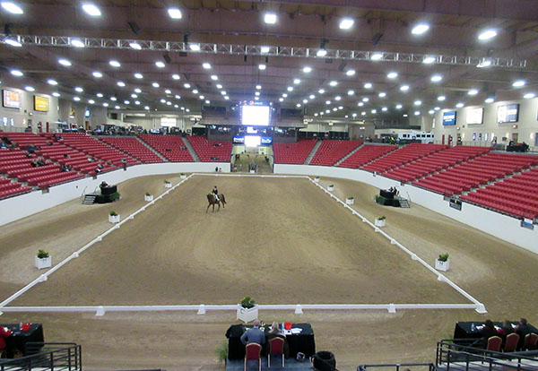 Centerpiece arena at the South Point casino-resort where the World Cup event attracted barely a sprinkling of spectator for the first international dressage n the world for 2017. © 2017 Ken Braddick/dressage-news.com