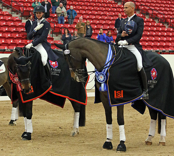 Stablemates Rosamunde with Steffen Peters Aboard and Legolas with Dawn White O'Connor talking during the awards ceremony after finishing first and second in the inaugural Las Vegas World Cup Grand Prix Freestyle. © 2016 Ken Braddick/dressage-news.com