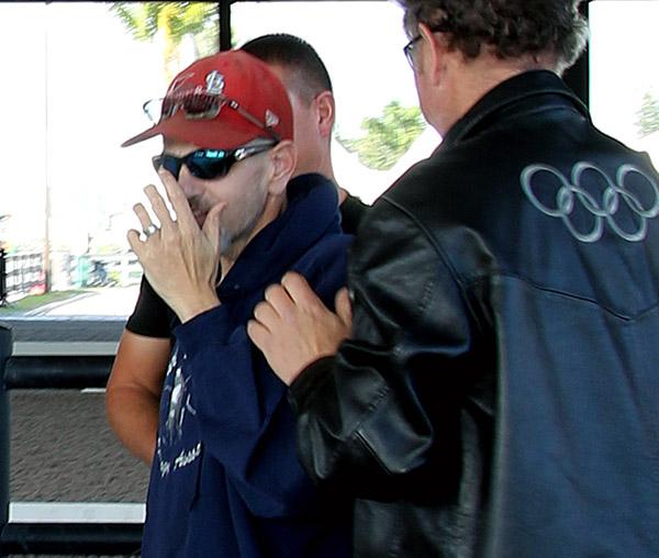 Jimmy Mandala's reaction on seeing his Dodge pickup after a year-long rebuild organized by Michael Barisone. © 2016 Ken Braddick/dressage-news.com