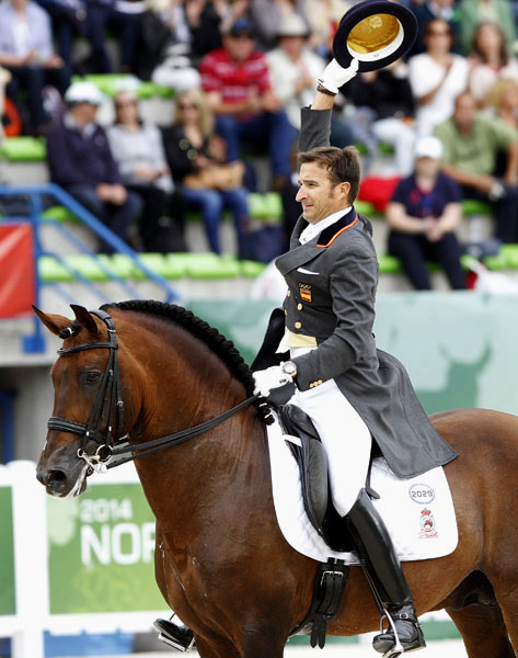 Jose Daniel Martin Dockx and Grandioso at the 2014 World Equestrian Games in Normandy. © 2014 Ken Braddick/dressage-news.com