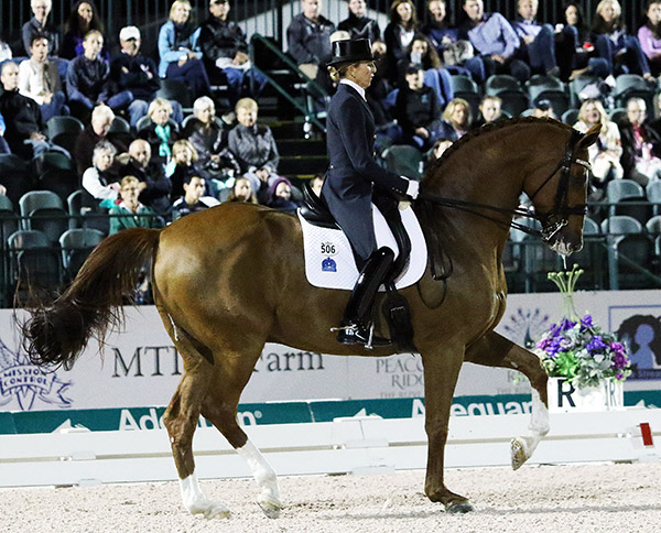 Lisa and Wilcox riding to victory in the Wold Cup Grand Prix Freestyle at the Adequan Global Dressage Festival. © 2017 Ken Braddick/dressage-news.com