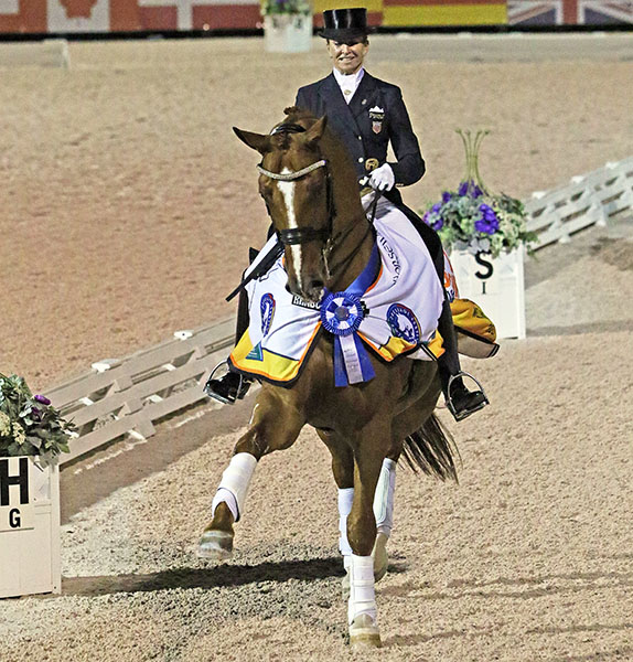 Lisa Wilcox on Galant after winning the Adequan Global Dressage Festival World Cup Freestyle. © 2017 Ken Braddick/dressage-news.com