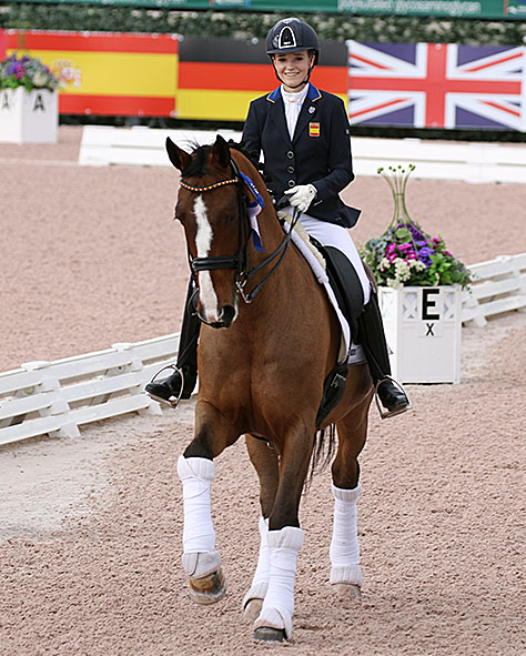 Natalia Bacariza Danguillecourt of Spain on Zoef Ymas won the Junior Rider Freestyle. © 2017 Ken Braddick/dressage-news.com