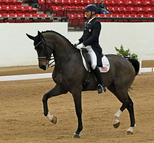 Steffen Peters and Rosamunde riding to victory in the inaugural Las Vegas High Roller World Cup Grand Prix Freestyule. © 2016 Ken Braddick/dressage-news.com