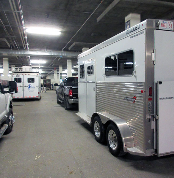 Horse trailers lined up in the climate controlled stables of South Point casino-resort. © 2017 Ken Braddick/dressage-news.com