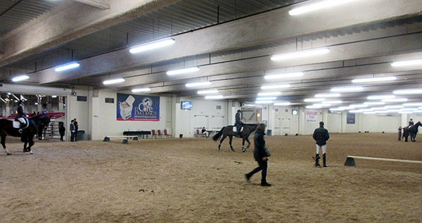 The oversize warm-up arena with two adjacent competition arenas in addition to the centerpiece stadium--all indoors and climate controlled. © 2017 Ken Braddick/dressage-news.com